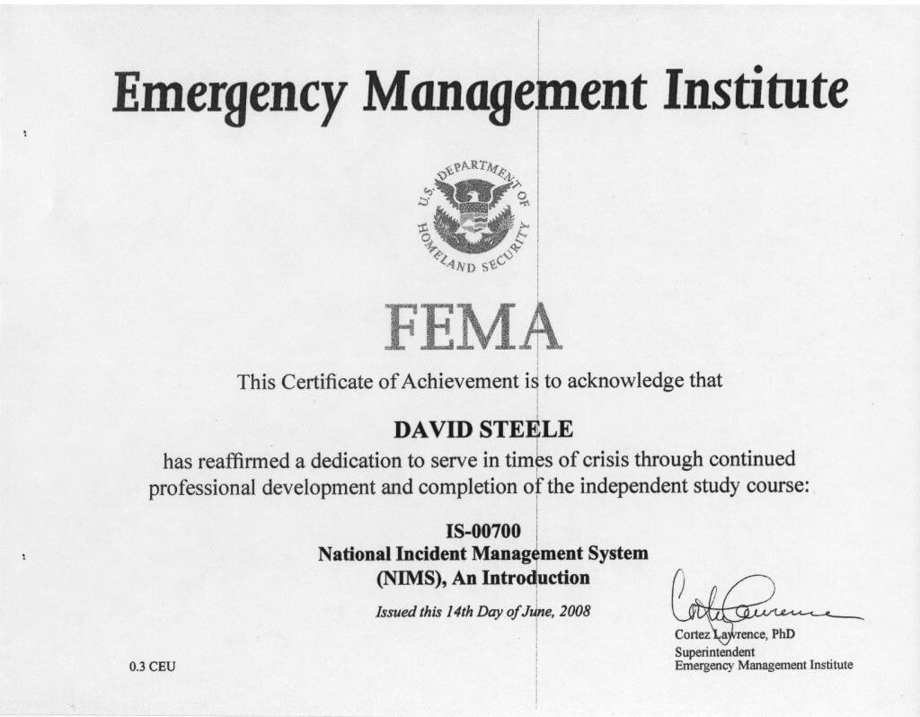 FEMA-Certificate